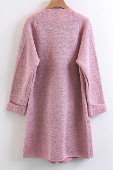 Front Cardigan Lapel Simple New Open Sleeve Fashion Plain Long Rq8RWXt
