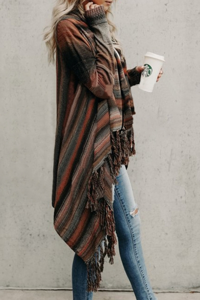 Fashion Sleeve New Long Cardigan Striped Tassel Hem dXBqBwR