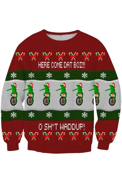 New Leisure Christmas Frog Print Long Sleeve Pullover Sweatshirt