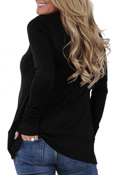 New Simple Plain V-Neck Long Sleeve Buttons Down Coat