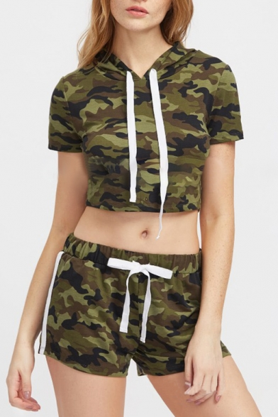 ffb687fd0c8cc9 New Stylish Camouflage Print Short Sleeve Cropped Hooded Top Leisure Co-ords