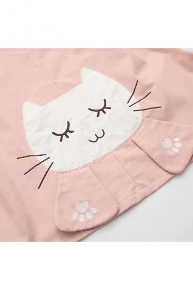 New Stylish Fish Embroidered Cat Pattern Single Breasted Hooded Coat