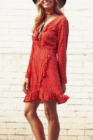 New Stylish Plunge Neck Long Sleeve Ruffle Asymmetric Trim Polka Dot Dress