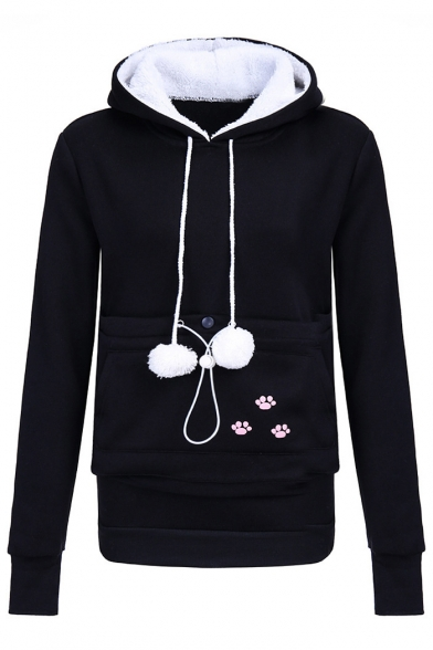 Long Drawstring Stylish Pocket Hood Print Sleeve Hoodie New nUBWq4xW