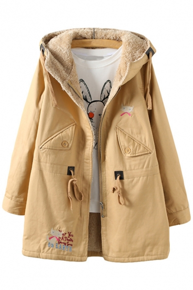 Chic Embroidery Cartoon Cat Pattern Drawstring Waist Tunic Hooded Coat