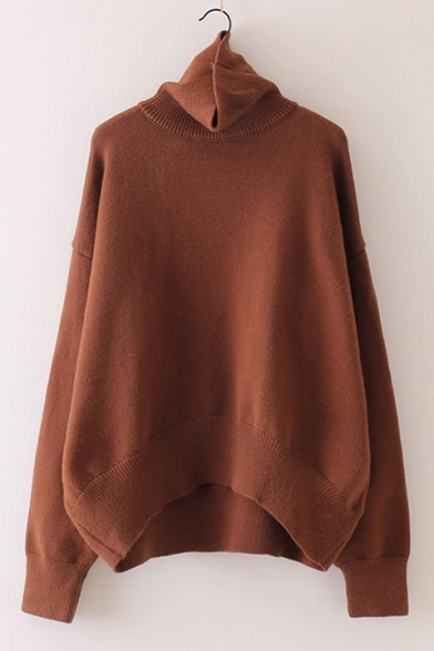 Pullover Chic High Long Simple Plain Sweater Neck Sleeve nC4rYCWva