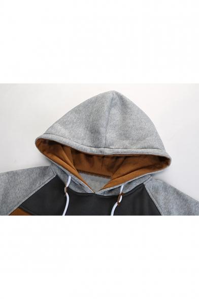 Sleeves Side Long Block Pockets Raglan Color Pullover Hoodie wTItqRPP
