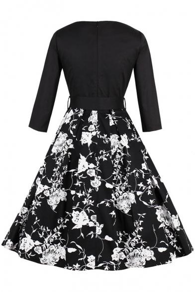 Elegant Monochrome Floral Printed Half Sleeves V-Neck Belted Fit & Flare Midi Dress