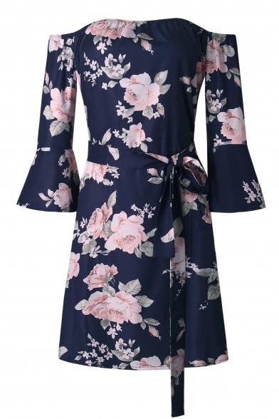 Fashion Floral Print Off Shoulder Ruffle Cuff Mini A-Line Dress
