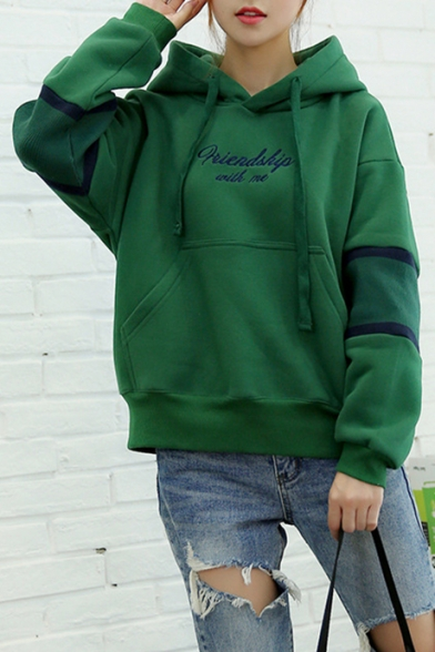 Fashion Letter Print Drawstring Hood Striped Long Sleeve Pocket Hoodie, LC455039, Dark navy;green;white;army green