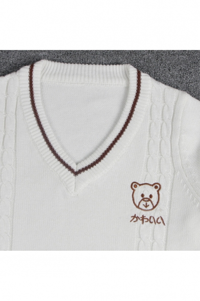 Pullover Fashionable Long V Embroidered Sleeve Sweater Neck Bear w4wYqB6