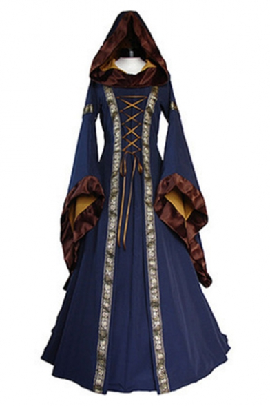 Medieval Bell Sleeves Heart-Neck Contrast Trimmed Witch Hooded Maxi Dress with Attached Lacing