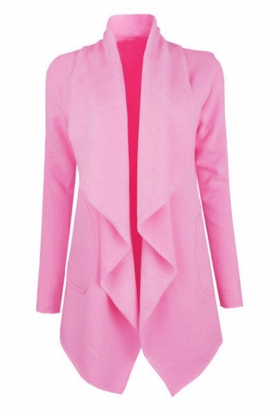 New Fashion Chic Plain Waterfall Collar Open Front Long Sleeve Trench Coat