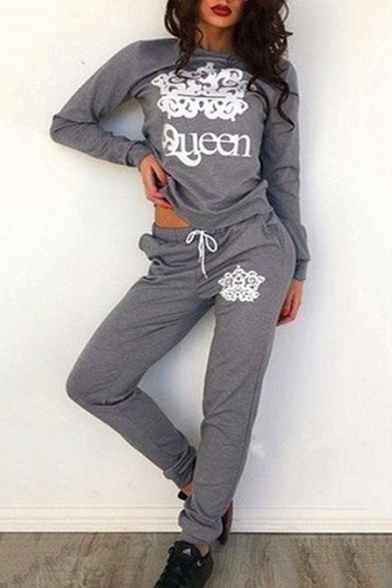 Fashion Print Sports Long Sweatshirt Round Crown ords Sleeve Co New Neck 6AqB7dqx