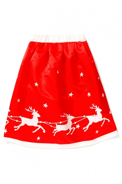 New Fashion Deer Star Print Elastic Waist A-Line Midi Skirt
