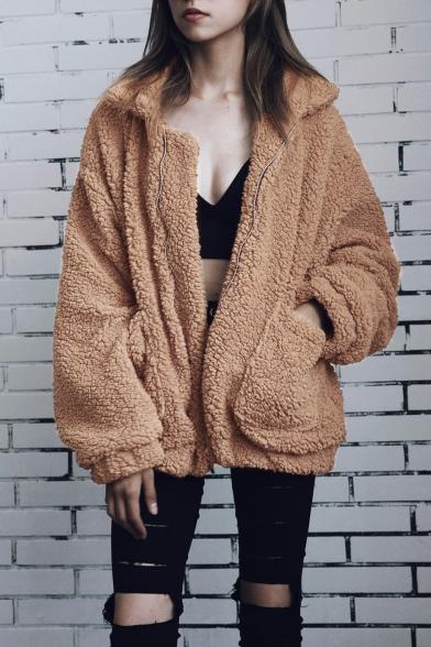 New Fashion Simpel Plain Lapel Zip Up Long Sleeve Wool Coat