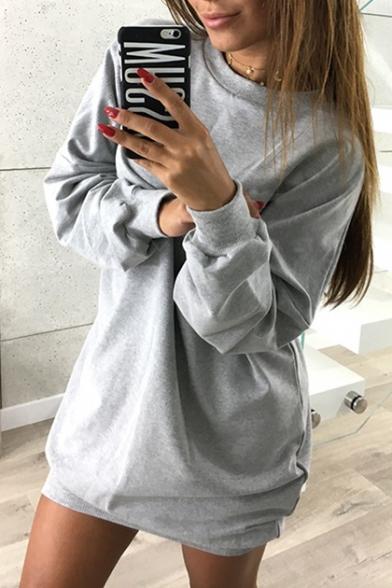 New Fashion Simple Plain Round Neck Long Sleeve Loose Mini Dress