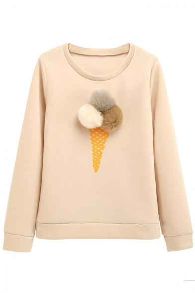 Neck Long New Puff Sweatshirt Simple Sleeve Fashion Round Pullover Balls Embellished nqR0Y6rqw