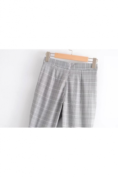 New Stylish Classic Plaid Zip Fly Flared Pants