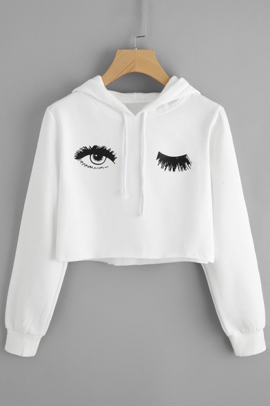 Print Hood Long Stylish New Sleeve Hoodie Eye Drawstring Cropped AZUIpn