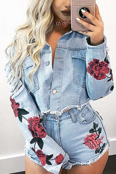 New Breasted Jacket Sleeve Pattern Denim Long Stylish Floral Single rq8pYwr