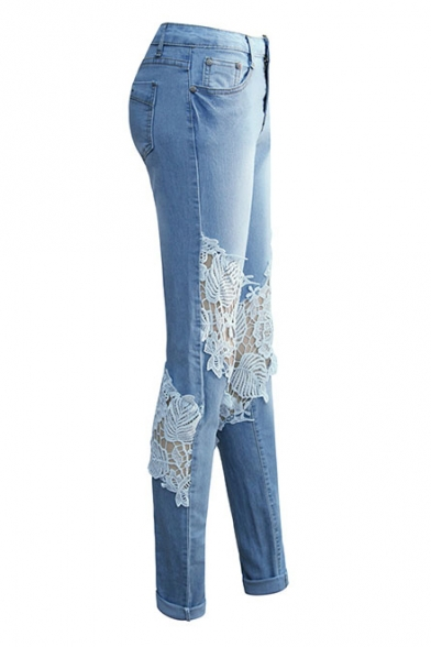 New Stylish Zip Fly Lace Panel Skinny Jeans