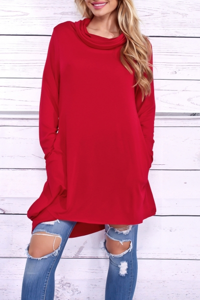 Simple Fashion Hooded Long Sleeve Dress with Double Pockets