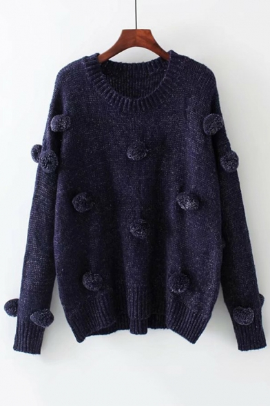 Stylish Round Neck Long Sleeve Sweater with Knitted Pompom