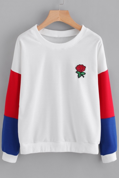 Long Embroidery Rose Neck Block Pattern Sleeve Color Pullover Sweatshirt Round W1pIx