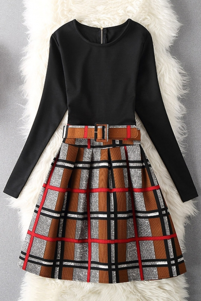 Color Block Plaid Round Neck Long Sleeve Skater Mini Dress