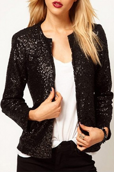 Collarless Concealed Sequined Button Sleeves Jacket Long Down Fashionable dB6q8d