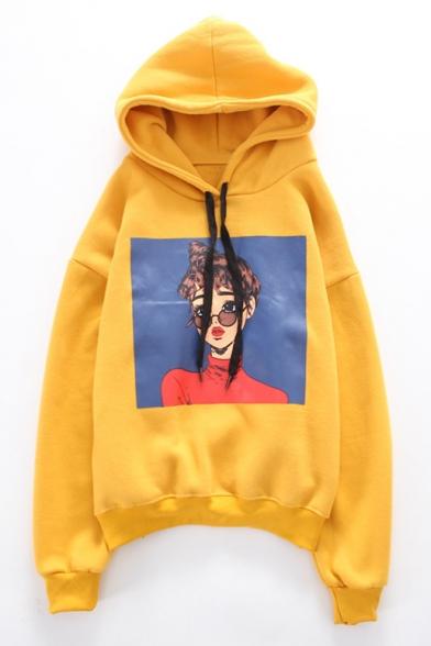 Hoodie Sleeve Print Cartoon Fashion New Long Girl WnU4Sw6q