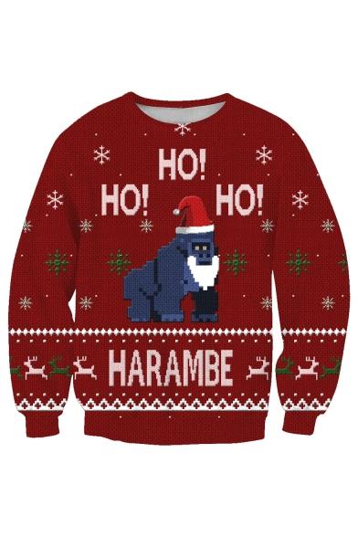 New Sweatshirt Print Sleeve Long Pullover Christmas Cartoon Fashion Gorilla Br8wnqFBv