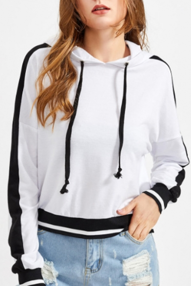 Hoodie Striped Block Sleeve Long New Color Fashion x6qEYnESHw