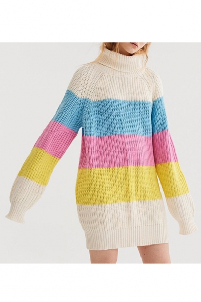 Sweater Block Tunic Sleeve Print Long Turtleneck New Stylish Color vqTwwSA