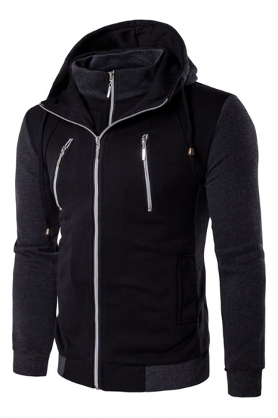 Stylish Casual Hood Hoodie New Drawstring Zipper Long Sleeve BYnqd