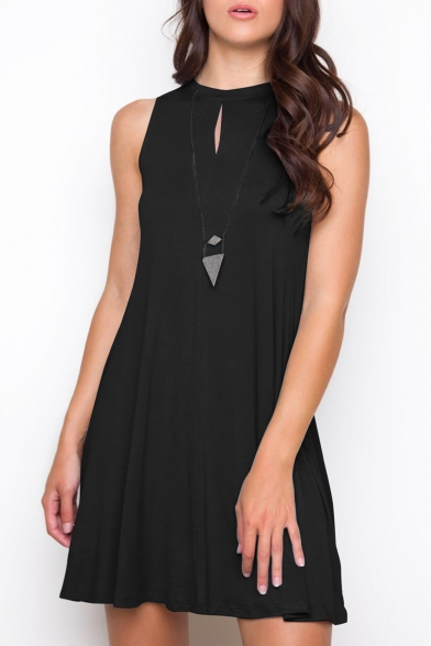 New Stylish Keyhole Front Round Neck Plain Tank Mini Dress
