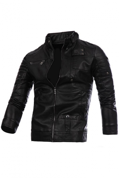 New Stylish Long Sleeve Stand-Up Collar Simple Plain Biker Jacket