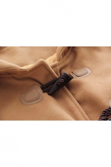 Single New Stylish Hooded Coat Contrast Breasted Cuff A5R5q