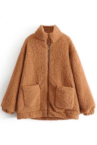New Stylish Stand-Up Collar Long Sleeve Zipper Simple Plain Fur Coat