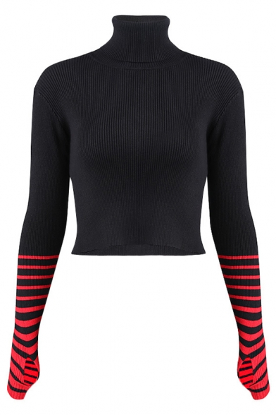 New Cropped Print Stylish Striped Turtleneck Sleeve Sweater Long rnqzHTPr