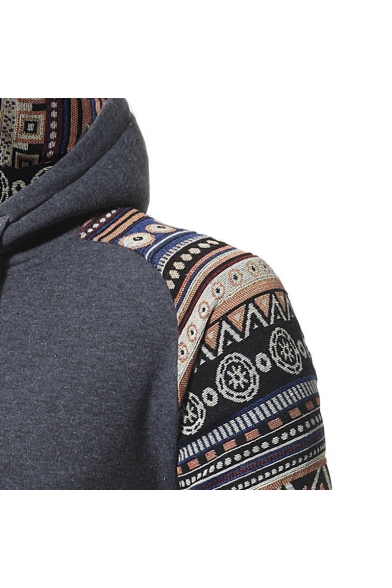 New Hoodie Stylish Drawstring Tribal Print Hood Unisex Leisure rzwSrHq