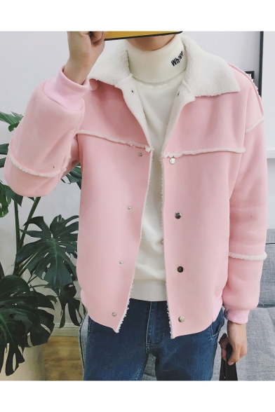 Simple Plaim Raw Hem Lapel Long Sleeve Buttons Down Coat