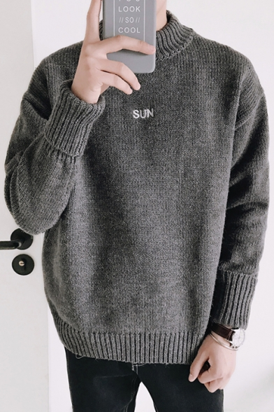 Simple Sweater Plain Long Letter Pullover Embroidered Sleeve gAgwrSYqx