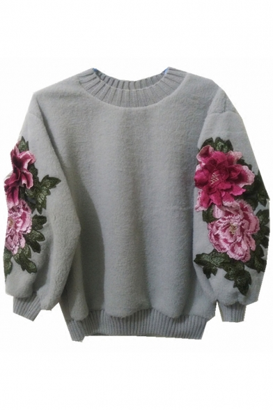 Sweater Pullover Floral Chic Long Round Neck Sleeve Embroidered 1wfTqO
