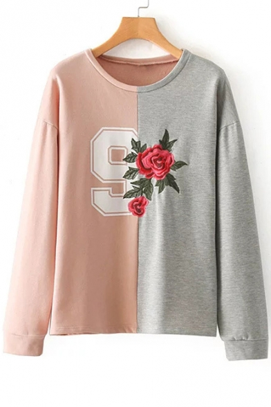 Sweatshirt Long Round Chic Neck Embroidered Pullover Block Rose Color Sleeve ZYxCPqzwx