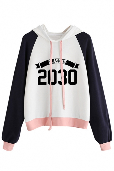 Number Drawstring Letter Hood Sleeve Color Hoodie Print Block Long 65Evnqzx
