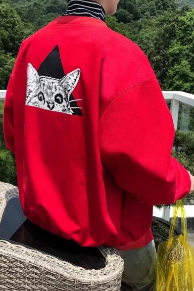 Fashion Cat Print Stand-Up Collar Long Sleeve Zip Up Baseball Jacket