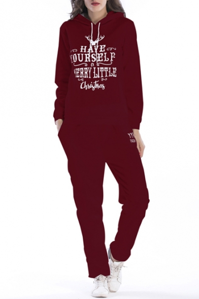 Sleeve Letter Leisure Print Co ords Fashion Hoodie Long nvf7ggp