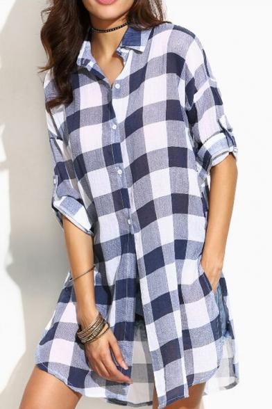 Fashion Split Side Long Sleeve Button Down Classic Plaid Tunic Shirt